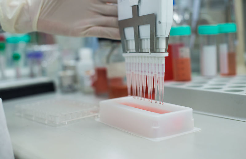 Cropped Hand Testing Chemicals In Laboratory