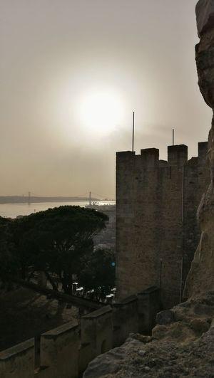 Castle tower Castelo De São Jorge Architecture Bridge Castle Tower History Lissabon, Lisbon - Portugal No People Brick Wall Travel Destinations City
