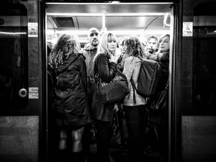 People standing in train