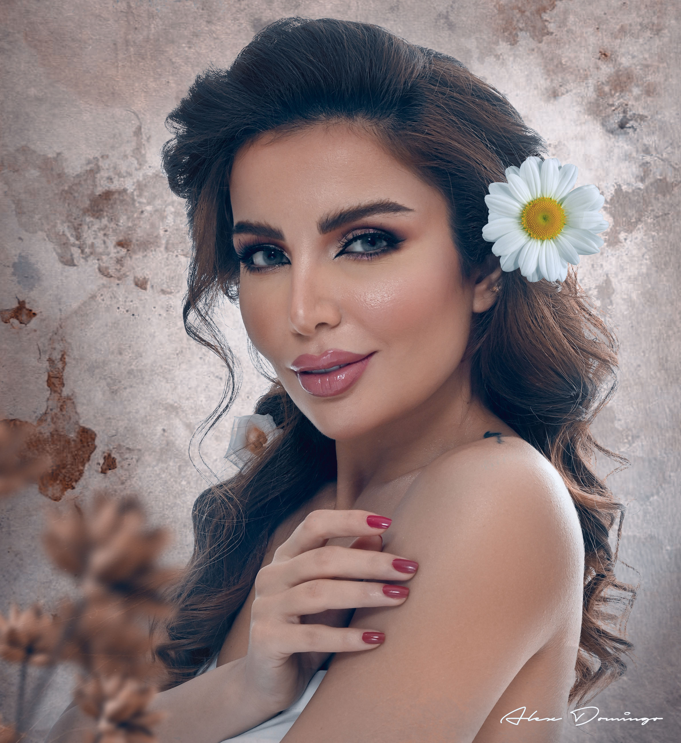 women, portrait, adult, young adult, one person, flower, fashion, flowering plant, looking at camera, hairstyle, make-up, plant, beauty in nature, photo shoot, long hair, brown hair, human face, female, elegance, clothing, glamour, headshot, nature, smiling, freshness, portrait photography, happiness, arts culture and entertainment, person, human eye, skin, lifestyles, cute, indoors, studio shot, human hair, eye, emotion, retro styled