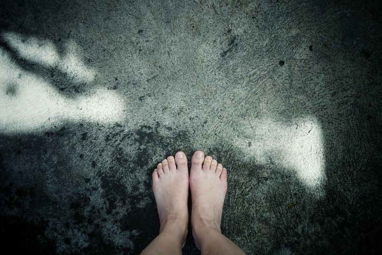 Selfies Drama Pair Alone Lonely Cold Temperature darkness and light Sunlight And Shadow Concrete Grunge Vintage Retro Depression Sadness Feelings Thinking Hope Happiness Low Section Standing Human Leg barefoot Wet High Angle View Human Foot Human Feet Toenail Personal Perspective Feet Toe