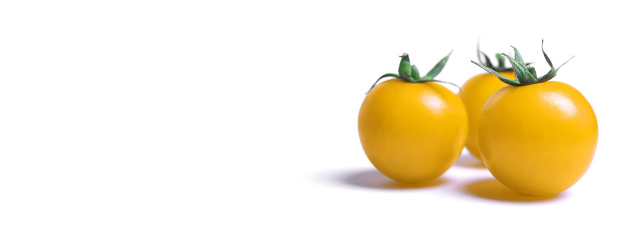 Close-up of yellow Tomatoes isolated on white Background. Tomatoes Tomato Yellow Tomatoes Yellow Fruit Fruits Stalk Green Food Studio Shot Freshness Indoors  No People Vegetable Cut Out Ripe Close-up White Background Raw Healthy Eating Food And Drink Wellbeing Isolated Copy Space Three Objects Small Group Of Objects Raw Food Organic Group Of Objects Small