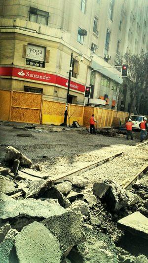 reparando calles en santiago