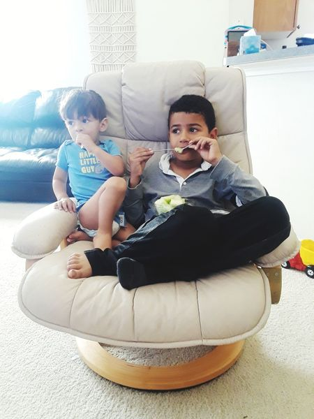 Child Childhood Togetherness Sitting Bonding Portrait Full Length Living Room Males  Females