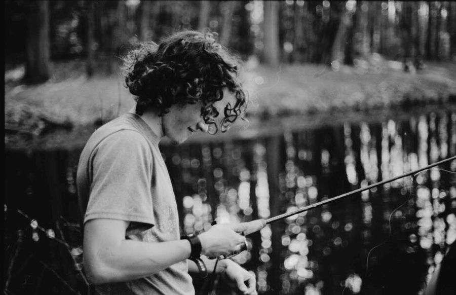 One Person Casual Clothing Outdoors Water Nature Fishing Black & White Film Photography Acros100 Nikon F2 Nikkor Bokeh Riverside Curly Hair Woods New England  Massachusetts