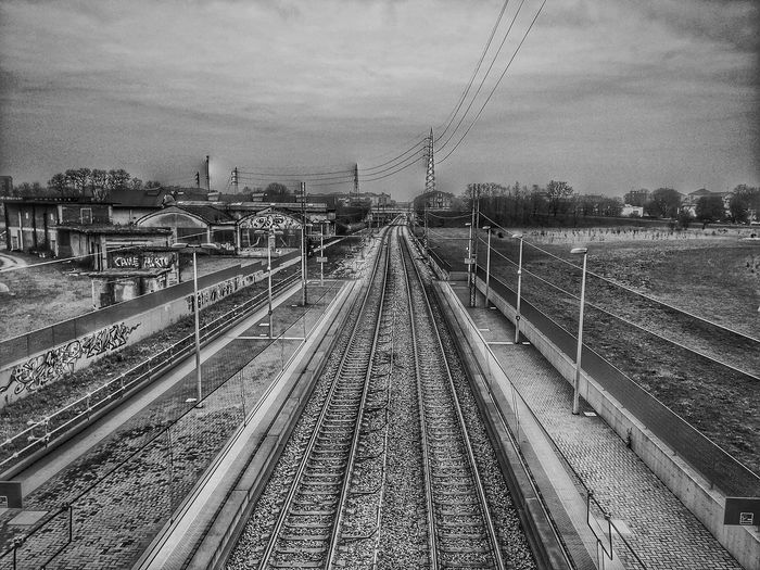 Blackandwhite Railroad Track Perspective View The Way Forward Public Transportation