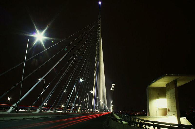 Nightphotography Streetphotography City Lights Longexposure Singlepylonbridge MostnaAdi Bridge Night Lights Lighttrails Adabridge Bridgeporn Long Exposure Belgrade,Serbia