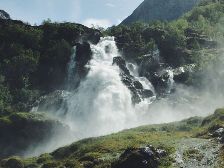 Waterfall Beauty In Nature Power In Nature Norway Landscape Briksdalsbreen Flowing Water Outdoors Travel Photography Traveling EyeEm Best Shots Landscape VSCO Vscocam Klaquax_Norway
