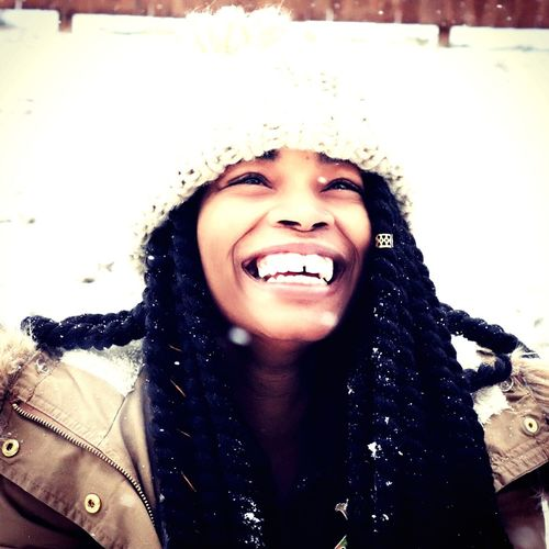 Snow day Smiling Toothy Smile Young Women Portrait Fun Real People