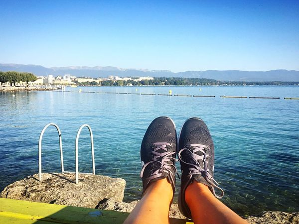 Lake Leman Lake Geneva Shoe Water Human Leg Outdoors Human Body Part Low Section Blue Real People Lifestyles Nature Personal Perspective Morning Run Jogging Noexcuses Active Lifestyle  Healthy Strong Doing Sport Stay Active Outdoor Run Habits Lake Lake View