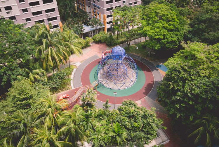 Here's some photos I took of two playgrounds in Circle Green Singapore back in Mar 2018. One is the largest I've actually seen in Woodlands/ Sembawang and the other is a pirate ship! Public Park Geometric Shape High Angle View Outdoor Play Equipment Park Playground Public Residential Housing Tree