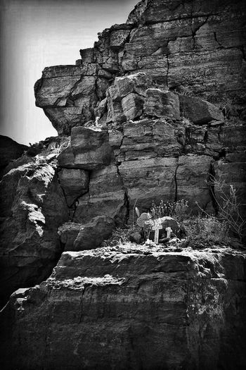 Rock - Object Rock Formation Geology Cliff Nature Physical Geography Rock Rough Beauty In Nature Scenics Cave Tranquility Landscape Outdoors No People Day Textured  Rock Face Sky Texas Landscape ROADSIDE TEXAS Memorial Monochrome Photography Crosses