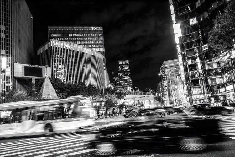 Ginza Night. Night City Ginza Tokyo Japan Ginza Tokyo Tokyo,Japan Built Structure Architecture Building Exterior City Night Illuminated Building Transportation Street Office Building Exterior Road City Life Mode Of Transportation Land Vehicle Motion