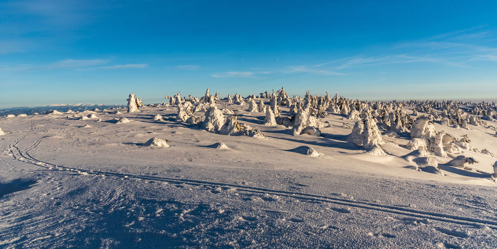 Panoramic view of land against sky during winter