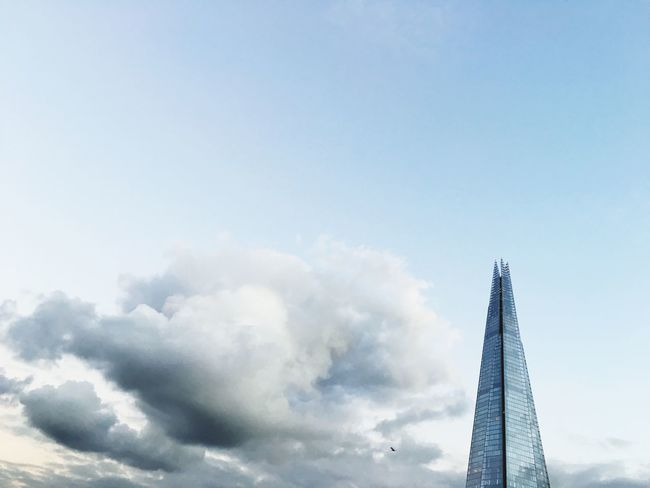 Cropped shot of The Shard in London with Clouds filling the frame. Cloudy Uk Building City Landmark Sky Copy Space