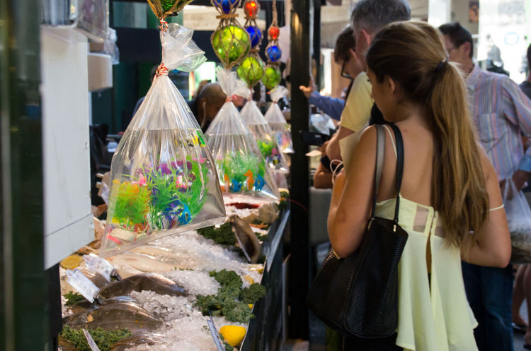Bags Borough Market City Customers Day Fish Fish Stall Foodies Large Group Of Objects London Market Multi Colored Retail  Sea Seafood Seahorse Shopping Stall Tourist Unrecognizable Person People London Lifestyle