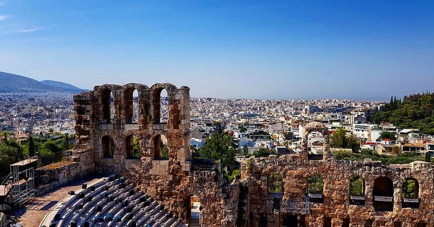 Dionysus Acropolis Greece Theater Mountain Old Ruin Sky Architecture Archaeology Ancient Civilization Ancient History Historic