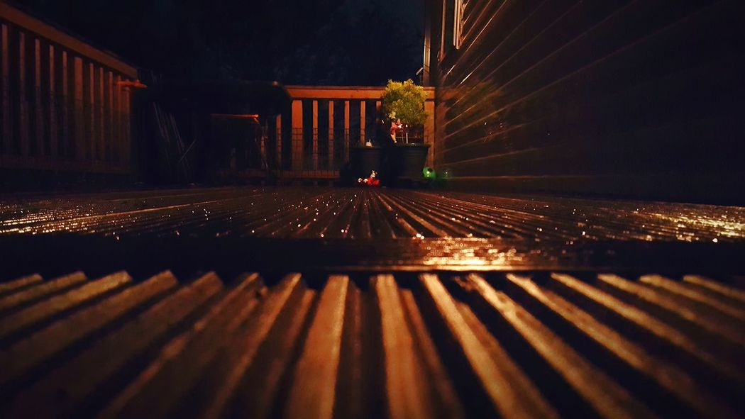 Night No People Wooden Decking Illuminated Outdoors Built Structure Close-up Light And Shadow Light From Darkness