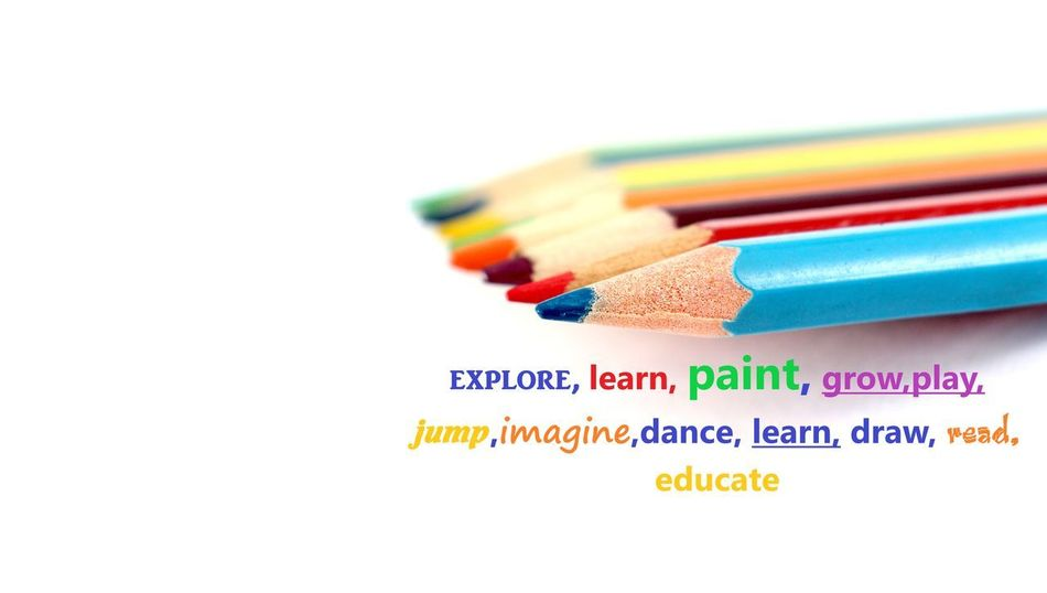 pencils and words Dance Growth Learning Paint Pencils Close-up Colored Pencil Education Educational Explore Multi Colored No People Pedagogia Pencil White Background Words Yellow