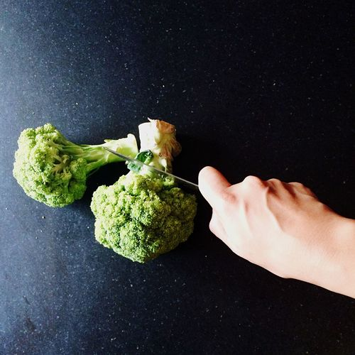 Vegetables Brocolli Handsatwork Knife Chopping