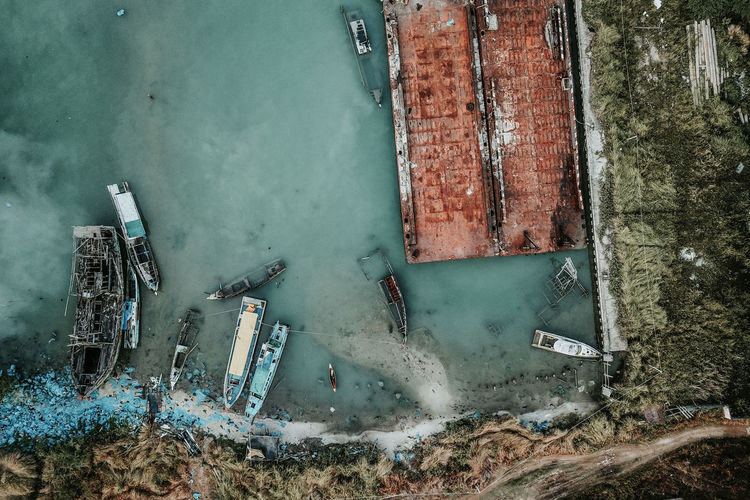 Drone View Of Damaged Boat On Lake