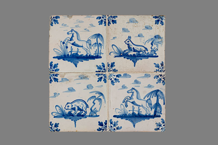 16th Century 17th Century 18th Century Blue Close-up Day Floral Pattern Historic Horses No People Tile