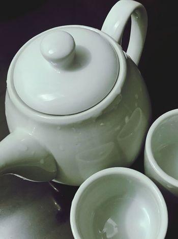 Tea Cups Tea Pot White