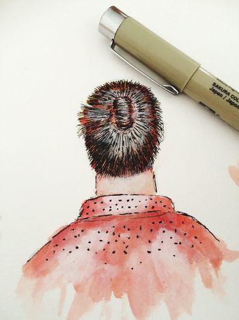 Drawing Manbun Ink Micronpen