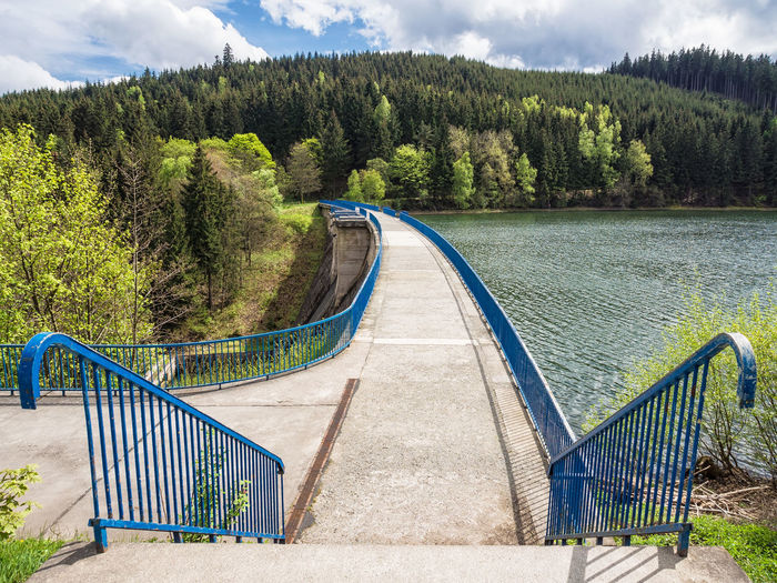Barrage dam in Thuringia, Germany. Architecture Barrage Building Exterior Cloud - Sky Dam Day Forest Growth Nature No People Outdoors Sky Staircase Stairs Thuringia Tree Vacations