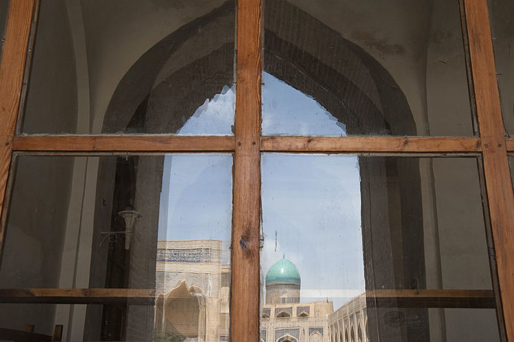 View of mosque seen through window