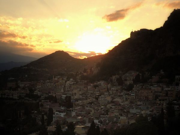 Sunset Fantastic Sunset. Etna, Mountain, Sicily, Amazing View Mountain Range Architecture Silhouettes Sky And Clouds Cityscape Travel Photography Town Historic Site Taormina, Sicily 🇮🇹 Italy❤️