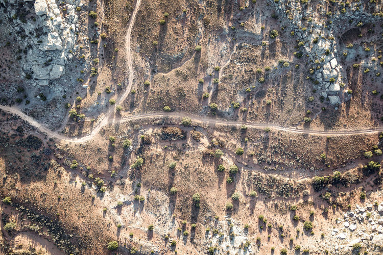 High angle view of road on land
