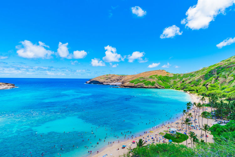 Backgrounds Beach Beauty In Nature Blue Cloud - Sky Day Hanauma Bay Hawaii Holiday Horizon Over Water Idyllic Landscape Nature Ocean Outdoors Scenics Sea Sky Summer Sunny Tranquil Scene Tranquility Travel Destinations Vacations Water