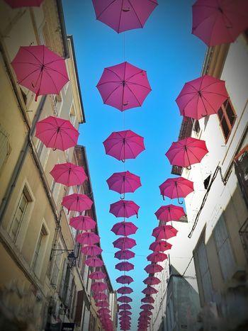 Low Angle View Architecture Cultures Day Multi Colored Celebration SkyLifestyles Octobre Rose Itsapinkworld Pink Street Creativity Street Art Streetphotography EyeEm Best Shots France EyeEmBestPics Eye4photography  EyeEm