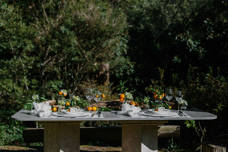 Place setting on table in yard