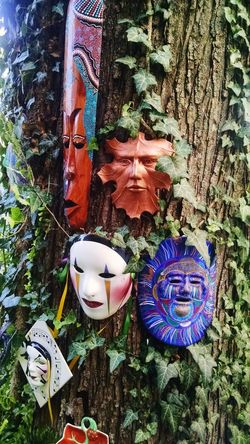 Masks Decor No People Day Close-up Art And Craft Tree Trunk Outdoors cultural masks