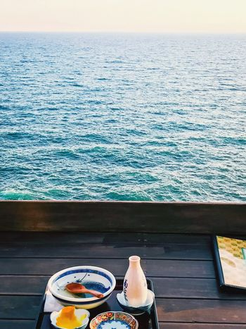 Solo fun Sea Water Terrace View Ocean View Sea And Sky Seascape Sea View Dining Table Dining Dining Room Restaurant Japan Photography Japanese Food Japan Japanese Style Horizon Over Water Day Nature Real People Beauty In Nature Sky