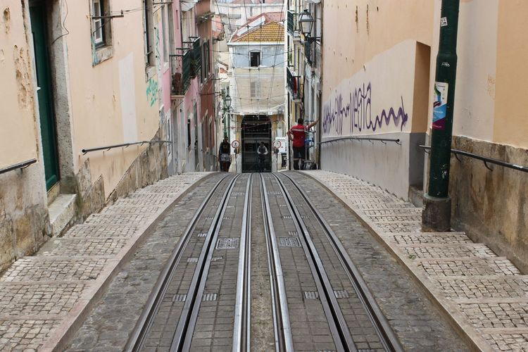 Railroad Tracks Amidst Buildings