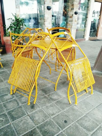 Chairs And Table Unused Motion Art Yellow Color Angle Outdoor No People