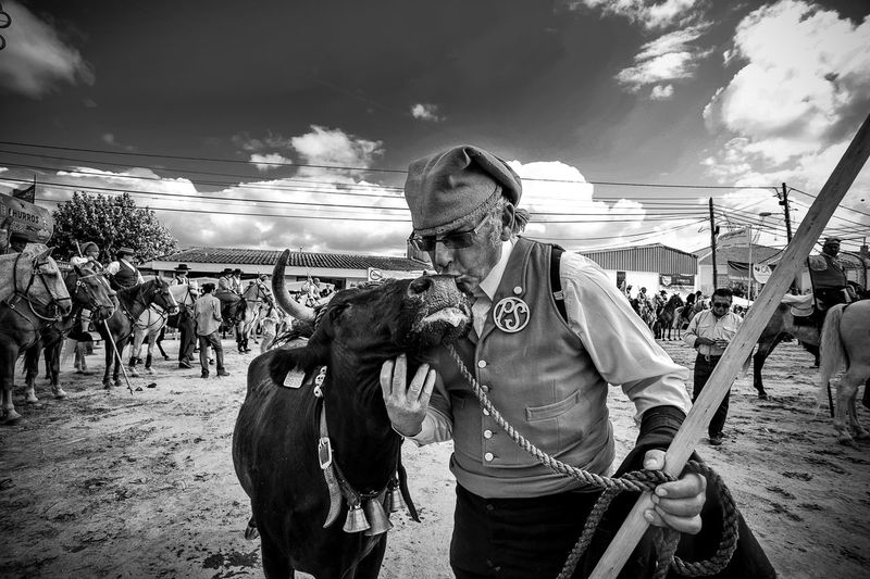 Campino Campino kissing his brave cow, which was created by him Casual Clothing Cloud - Sky Day Domestic Domestic Animals Incidental People Leisure Activity Lifestyles Livestock Mammal Outdoors People Pets Real People Sky Standing Three Quarter Length Vertebrate First Eyeem Photo