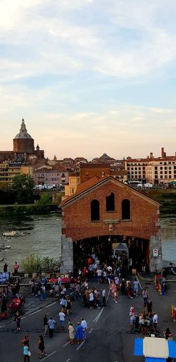 Pavia Bridge Ticino Duomodipavia Bridge City Crowd Cityscape History Sky Architecture Building Exterior Built Structure Palace Old Town Place Of Interest TOWNSCAPE Town