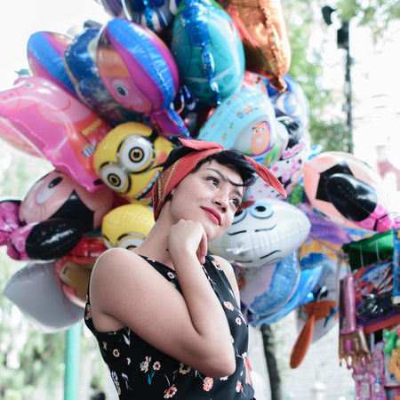 Thinking 60s Fashion Retro Amusement Park Balloon Balloons Close-up Clown Colorful Day Fun Girl Girls Happiness Leisure Activity Multi Colored Outdoors People Portrait Real People Smiling Streetphotography Togetherness Vintage Young Adult Young Women