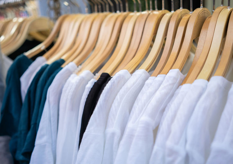 Clothes on rack at store