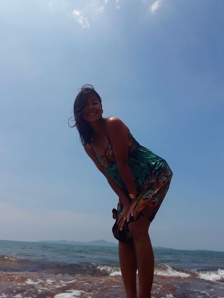 woman Thailand🇹🇭 Thailand 2018 Day Beuty In Natrut Water Sea Beach Portrait Sand Wave Motion Summer Shirtless Sky My Best Travel Photo EyeEmNewHere