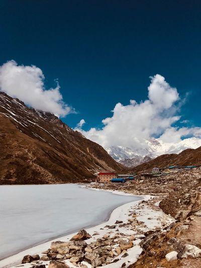 A frozen lake,