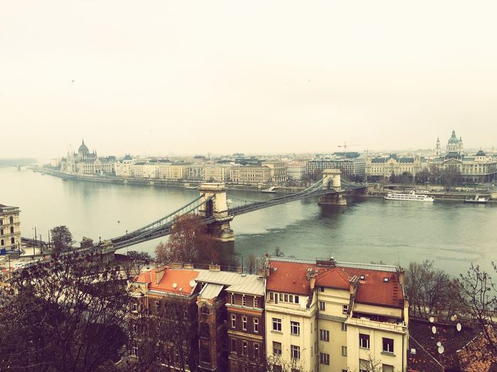 This city is so beautiful. Just like a painting. 😍 Vintage City Chain Bridge Enjoying Life Cold Buildings Winter Cityscapes Riverside Travelling