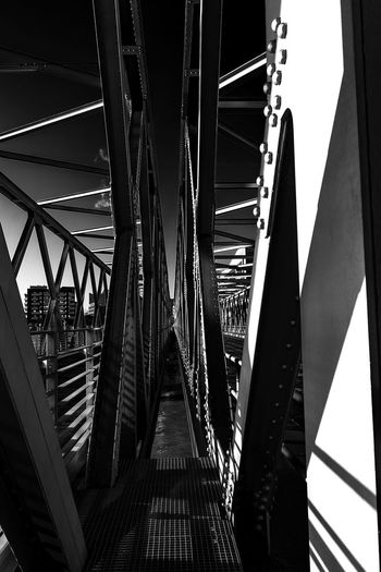 bridge Hafencity Hamburg Bnw Blackandwhite Iron Bridge Metall Construction Light And Shadow Architecture Built Structure Bridge Connection Bridge - Man Made Structure Transportation Metal No People Railing Direction Day The Way Forward Low Angle View Indoors  Diminishing Perspective Nature Sunlight Shadow Long Girder Underneath Ceiling