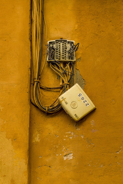 old-fashioned rustic architecture broken built structure close-up day  electricity fuse box no
