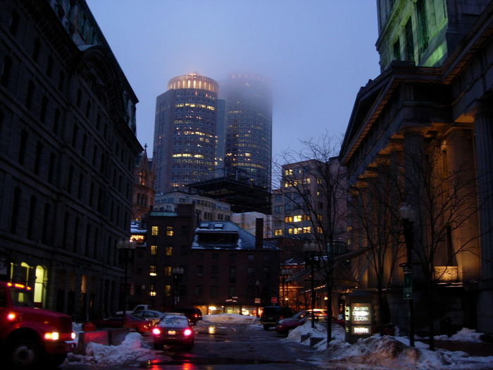 View of city at night during winter