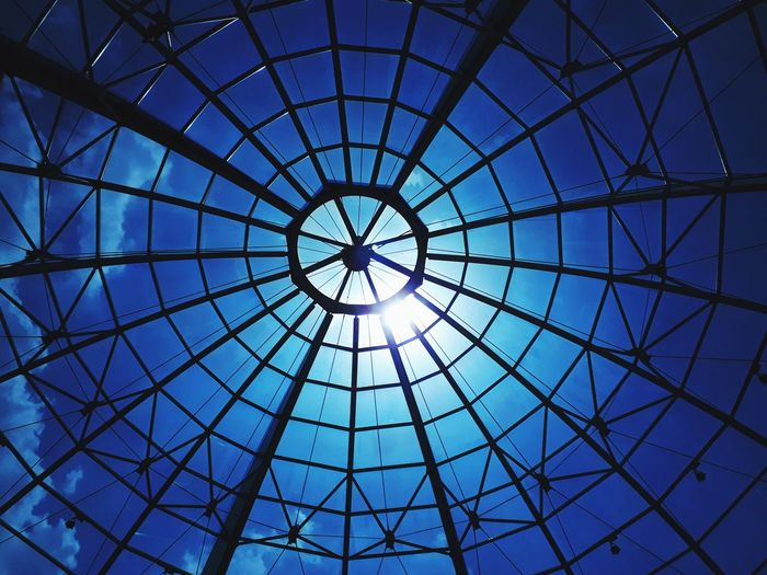 Italy Marcianise Campania Modern City Concentric Blue Pattern Backgrounds Full Frame Directly Below Sky Architecture Architectural Design Cupola Geometric Shape Circular Circle Architectural Detail Architecture And Art Ceiling Architectural Feature Skylight LINE Dome Hexagon Triangle Round 10